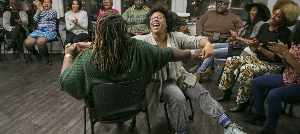 Angela's Pulse Collaborator Ebony Golden and '15-'16 DWB Fellow Sydnie Mosely at DWB Story Circles captured by Whitney Brown